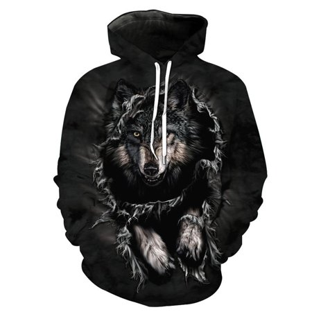 Wolf Head 3D Cool Digital Printing Loose Hooded Pocket Sweatshirt Winter Men and Women Tops Coat Outwear