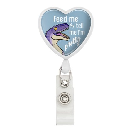 Velociraptor Feed Me and Tell Me I'm Pretty Dinosaur Funny Heart Lanyard Retractable Reel Badge ID Card Holder - White
