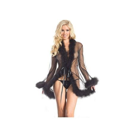 Be Wicked BW1650SBK Marabou Robe O/S / Black](Marabou Robe)
