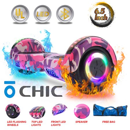 Back To Future Hoverboard (CHIC® 6.5'' Hoverboard with Front/Back LED & Bluetooth Speaker, Self-Balance Flash Wheel, UL Pink Camo Color)