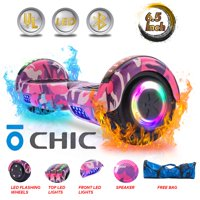 CHIC® UL Certified Electric Hoverboard w/ 6.5in Wheels, LED Sensor Lights, LED Wheel Well Lights, Bluetooth Speaker; Ideal for Boys and Girls Pink Camo Color (HB-Z29-PINKCAMO3)