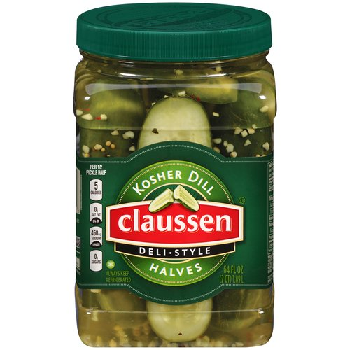 Claussen Kosher Dill Deli Style Halves Pickles, 64 fl oz
