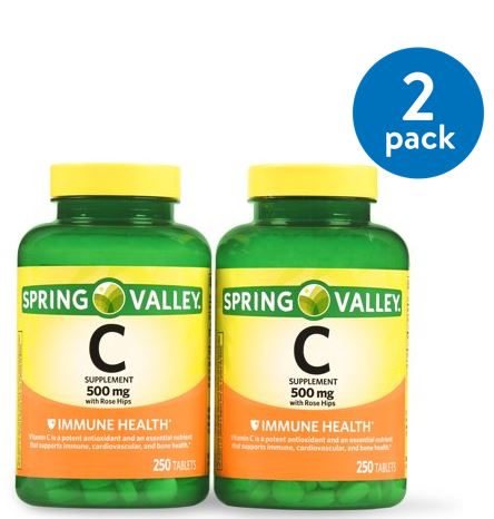 (2 Pack) Spring Valley Vitamin C Tablets, 500 mg, 250 Ct, 2 Pk