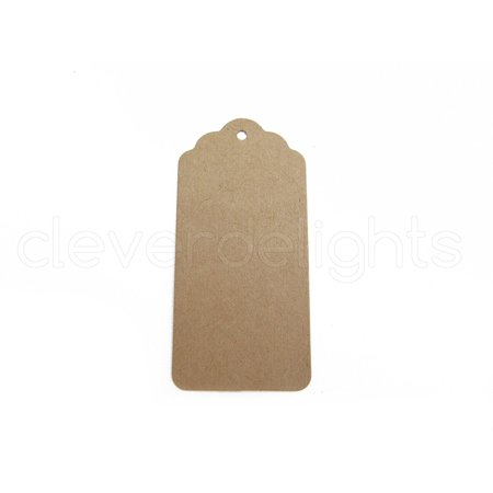 50 Kraft Gift Tags - Scalloped Hang Tag - 3.75