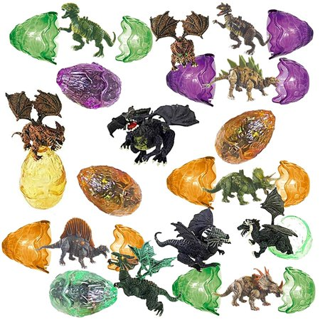 totem world 12 toy filled ancient dragon dinosaur egg figurines inside - kids love their bright colors and adorable designs - perfect for egg hunts, goodie bags, homework rewards, and party