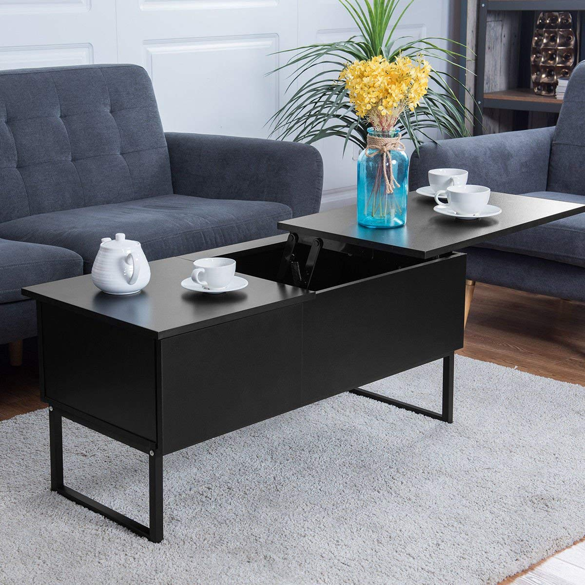 ktaxon Lift Top Coffee Table w/ Hidden Compartment and Storage Drawer Furniture Black