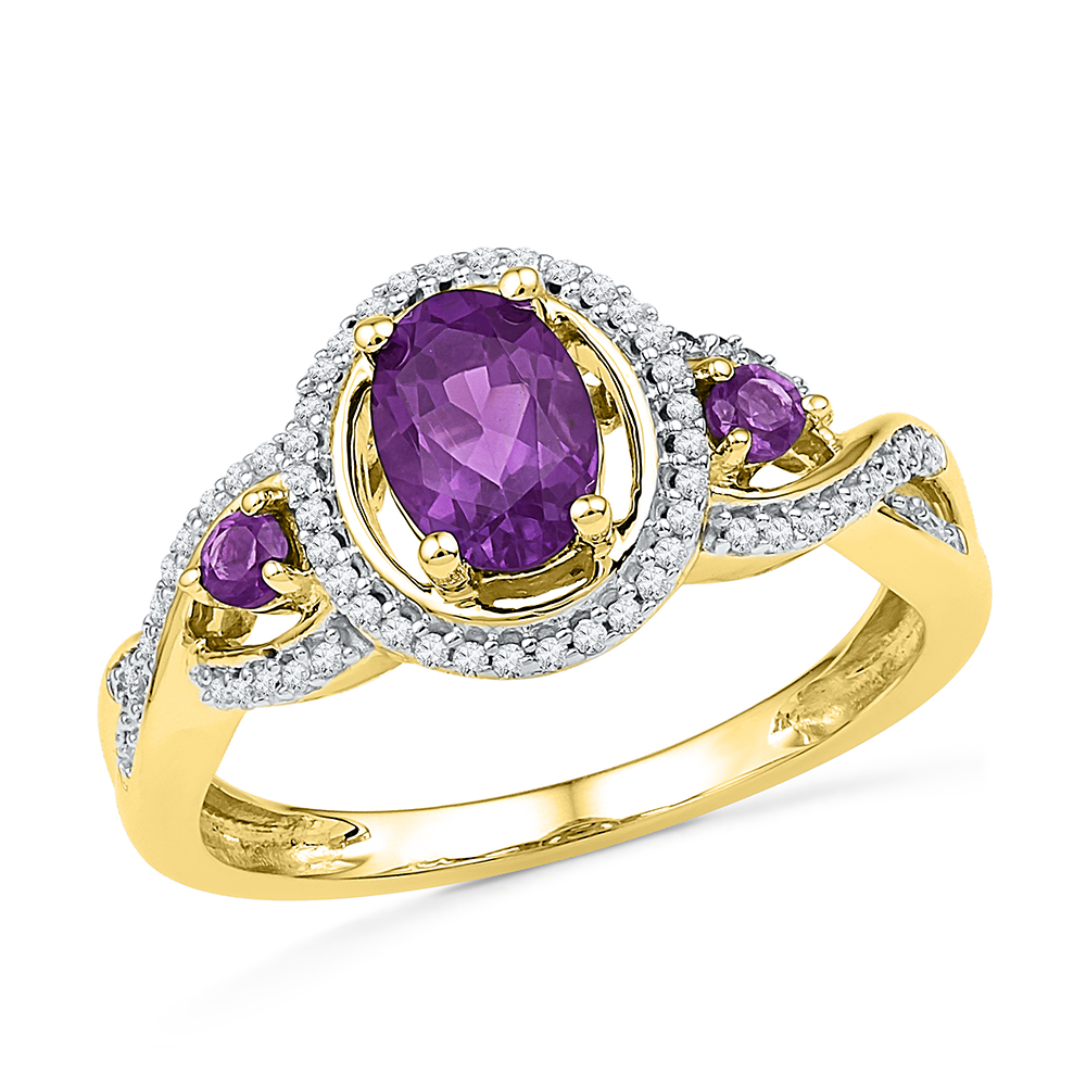 Size 7 Solid 10k Yellow Gold Oval Round Purple Simulated Amethyst And White Diamond Engagement Ring OR Fashion Band... by AA Jewels