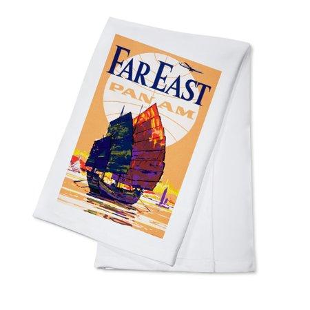 USA - Pan Am - Far East - Vintage Advertisement (100% Cotton Kitchen Towel) ()
