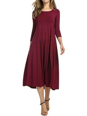 7be55f1c0996 Product Image Nlife Women 3 4 Sleeve Round Neck Swing Midi Dress