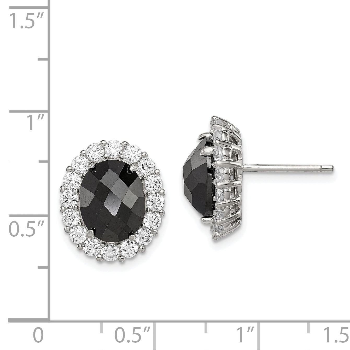 925 Sterling Silver Black Cubic Zirconia Cz Clear Post Stud Earrings Ball Button Fine Jewelry Gifts For Women For Her - image 1 de 2