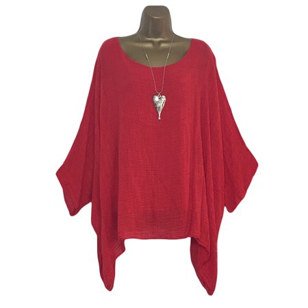 Plus Size Women Loose Casual Cotton Linen Top Blouse Ladies Summer Thin 3/4 Sleeve Bat wing Casual Baggy Pullover Basic Tee Shirt Blouses Daily Wear T-Shirt Red S Plus Size Linen Blend Shirt