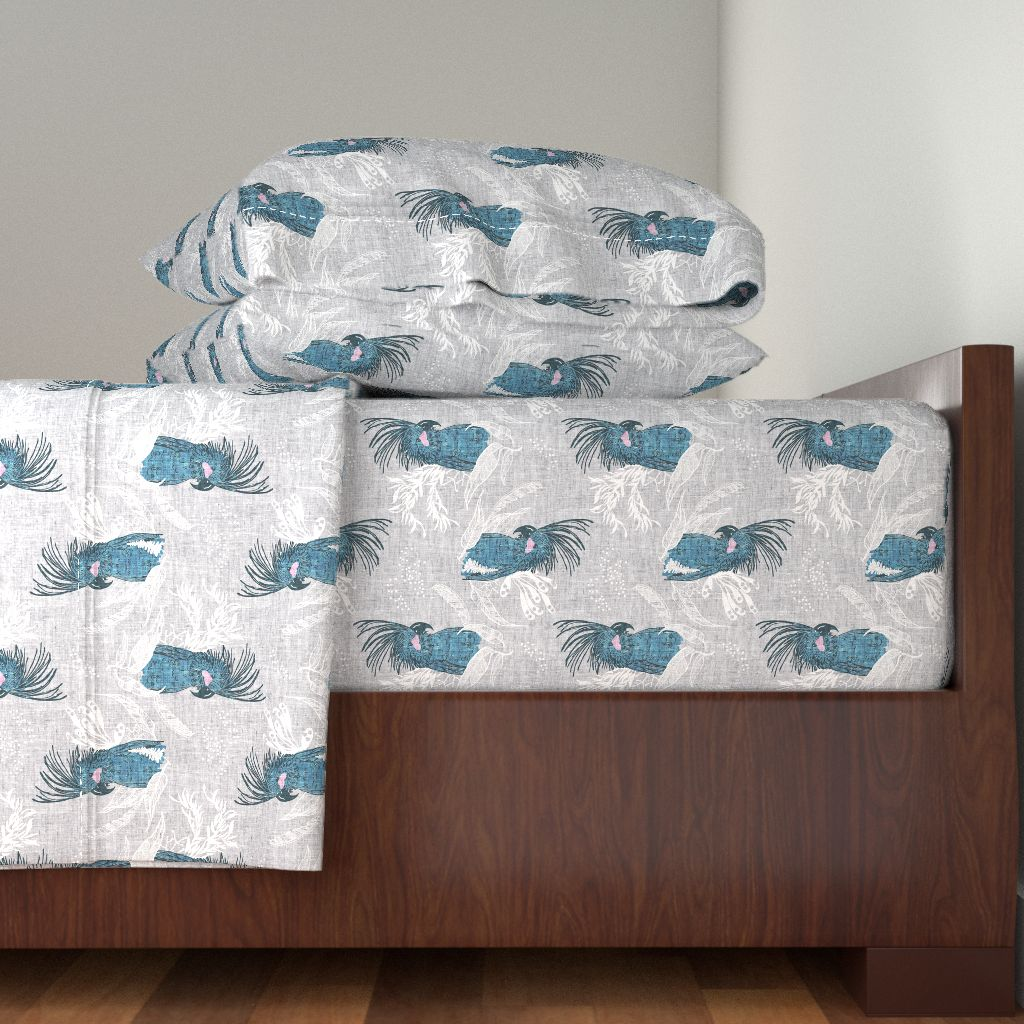 Cockatoo Birds Australia Blue And Grey 100% Cotton Sateen Sheet Set by Roostery