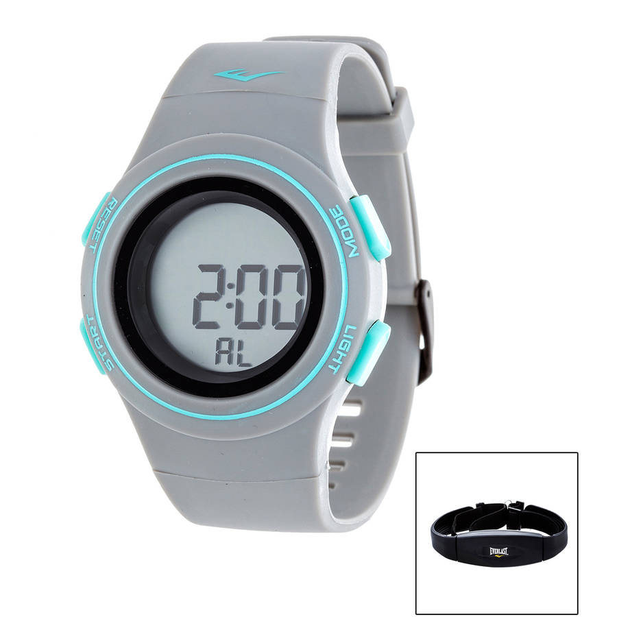 Everlast Men's HR6 Heart Rate Monitor Watch with Transmitter Belt, Grey Plastic Band