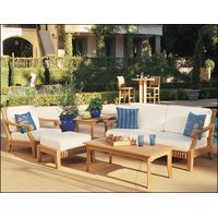 WholesaleTeak Outdoor Patio Grade-A Teak Wood 5 Piece Teak Sofa Set - 1 Sofa, 1 Lounge Chair, 1 Ottoman, 1 Coffee Table And 1 Side Table -Furniture only --Giva Collection #WMSSGV3