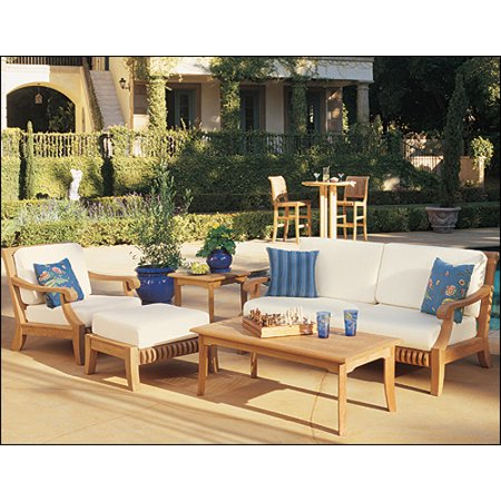 Wholesaleteak Outdoor Patio Grade A Teak Wood 5 Piece Teak Sofa Set 1 Sofa 1 Lounge Chair 1 Ottoman 1 Coffee Table And 1 Side Table Furniture