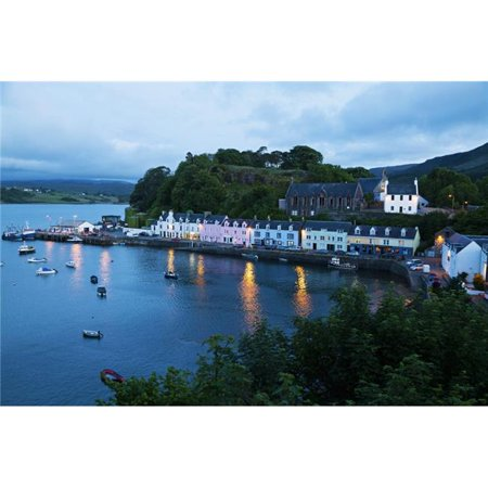 Design Pics DPI2429564 Colourful Houses & Boat in The Harbour At Dusk - Portree Isle of Skye Scotland Poster Print, 19 x 12 - image 1 de 1