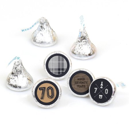 70th Milestone Birthday - Round Candy Sticker Favors - Labels Fit Hershey's Kisses (1 sheet of 108) - 70th Birthday Celebration Ideas