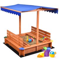 Costway Kids Cedar Sandbox w/ Canopy & Bench Seats Children Outdoor Playset for Backyard