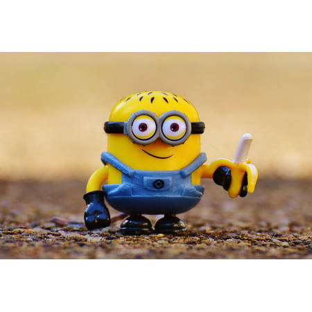 Cute Minions (Canvas Print Toys Yellow Minion Fig Funny Eat Cute Children Stretched Canvas 10 x)