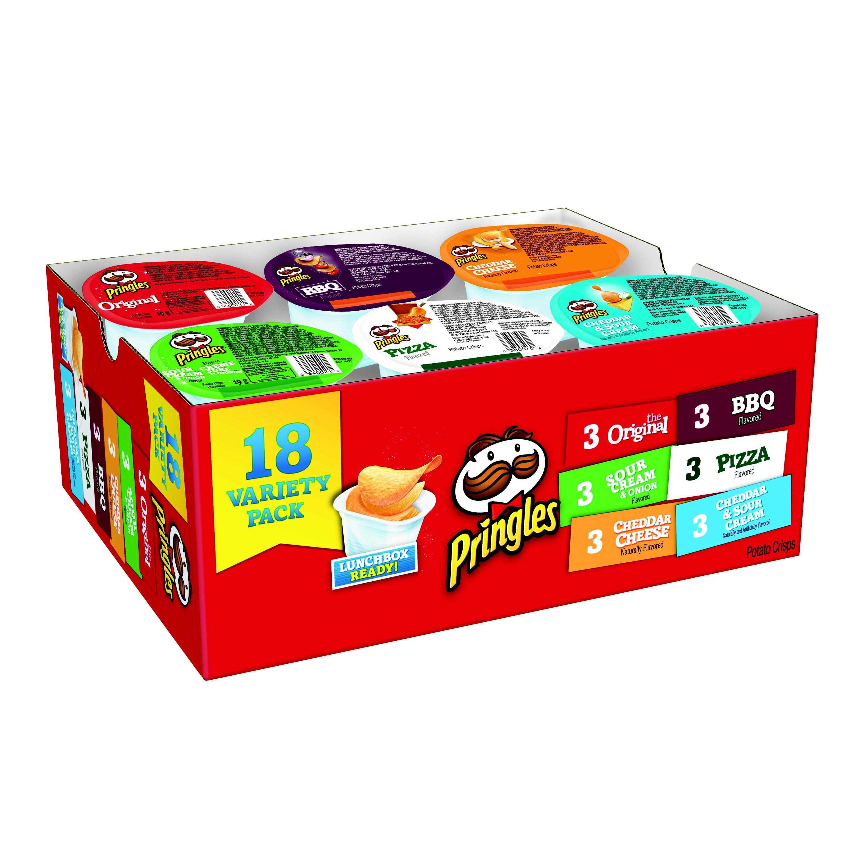 Pringles Snack Stacks Potato Crisps Chips, Flavored Variety Pack, 13.1 oz, 18 Ct