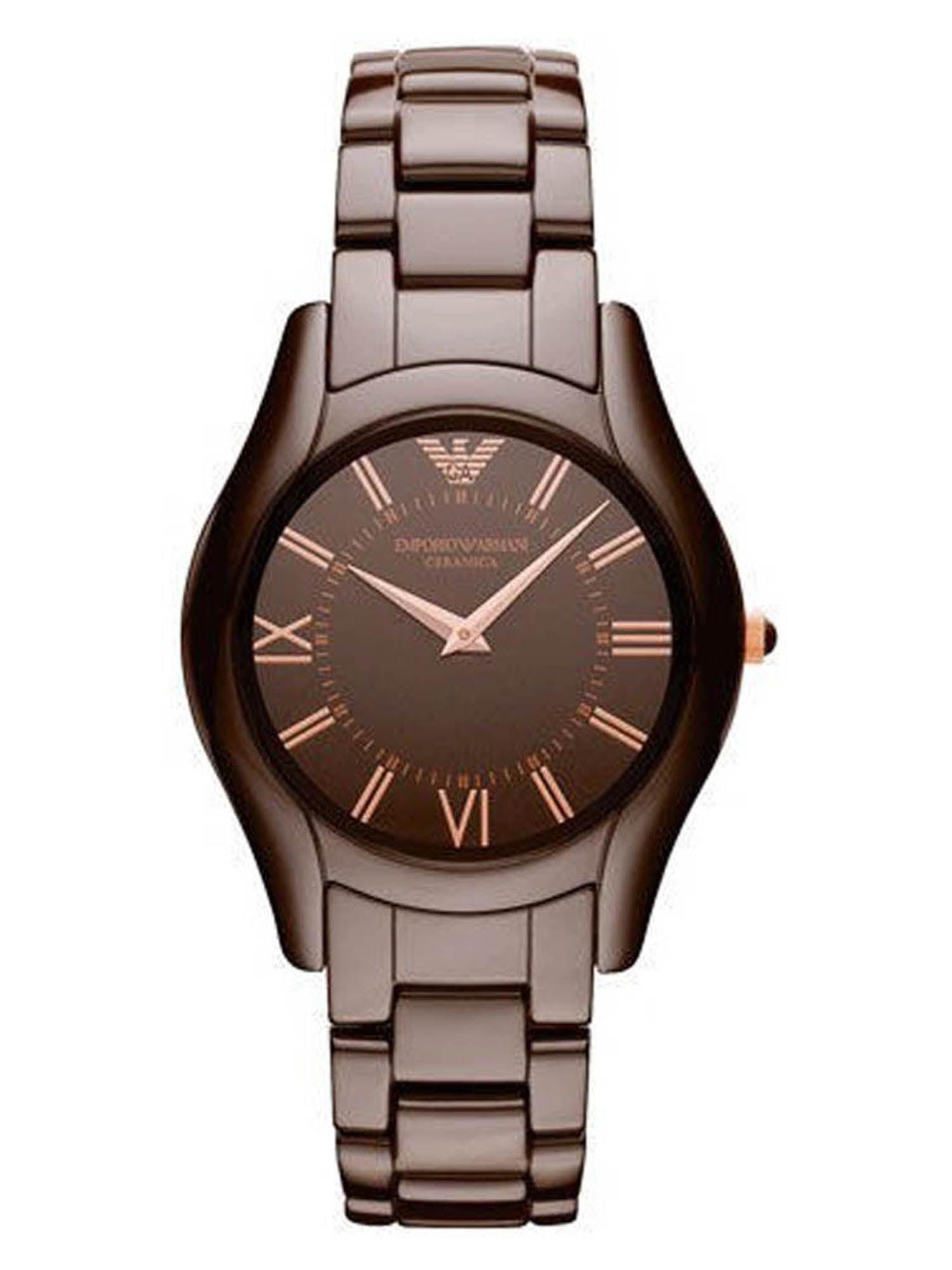 Emporio Armani AR1445 Ceramica Brown Dial Brown Ceramic Bracelet Women's Watch