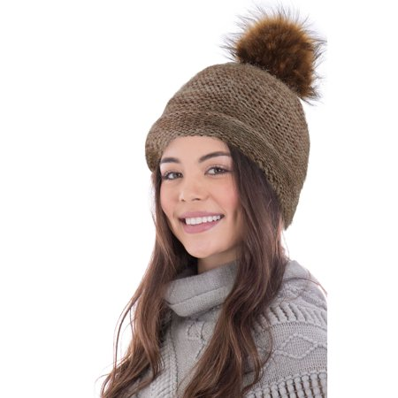 Slouchy Beanie Winter Oversized Cable Knit Beanie Faux Fur Pom Skully Cap 04447cebbb5