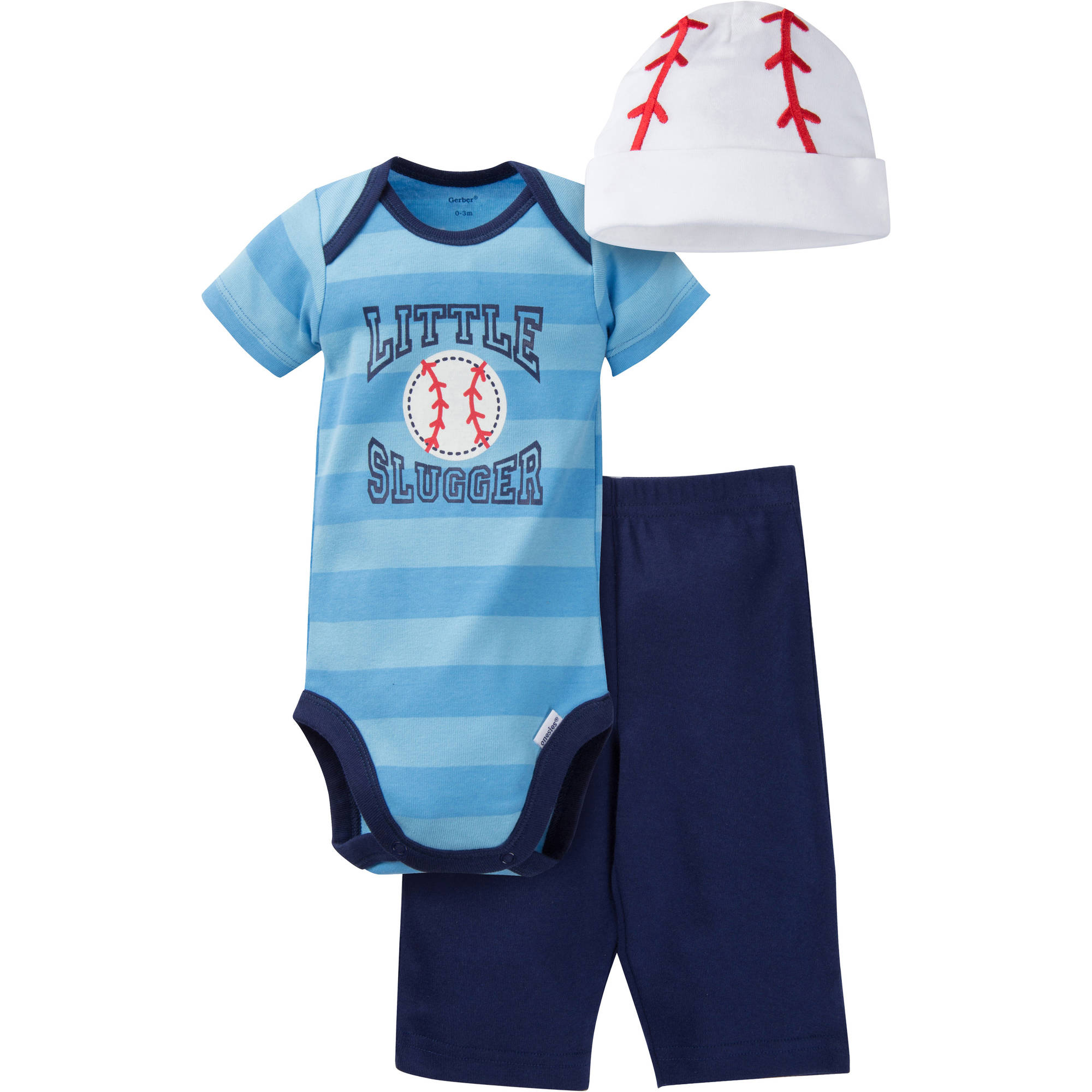 Gerber Newborn Baby Boy Bodysuit, Pant and Cap Outfit Set,  3-Piece