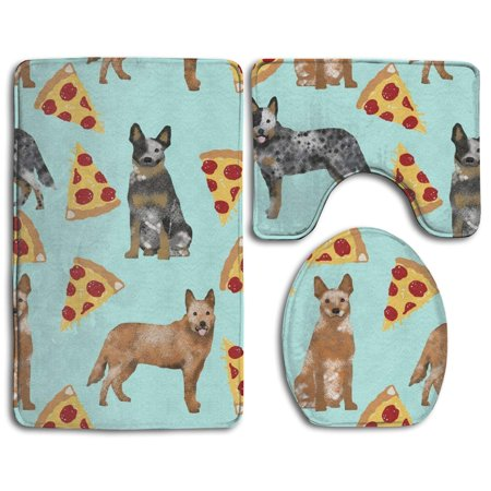 PUDMAD Australian Cattle Dog Blue and Red Heelers and Pizzas 3 Piece Bathroom Rugs Set Bath Rug Contour Mat and Toilet Lid (Miniature Australian Cattle Dog Blue Heeler Breeders)