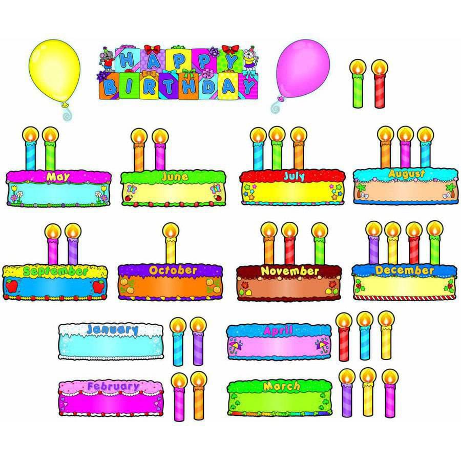 Carson-Dellosa Birthday Cakes Design Bulletin Board Set, Set of 47 Pieces by Carson-Dellosa Publishing LLC