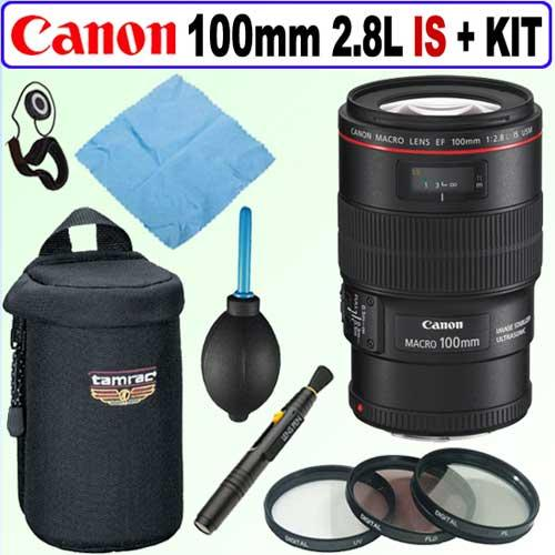 Canon EF 100mm F/2.8L IS USM 1:1 Macro Lens + Deluxe Accessory Kit