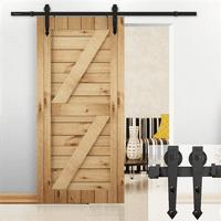 SmileMart 6 FT Modern Sliding Barn Door Interior Wood Closet Track System Kit Set