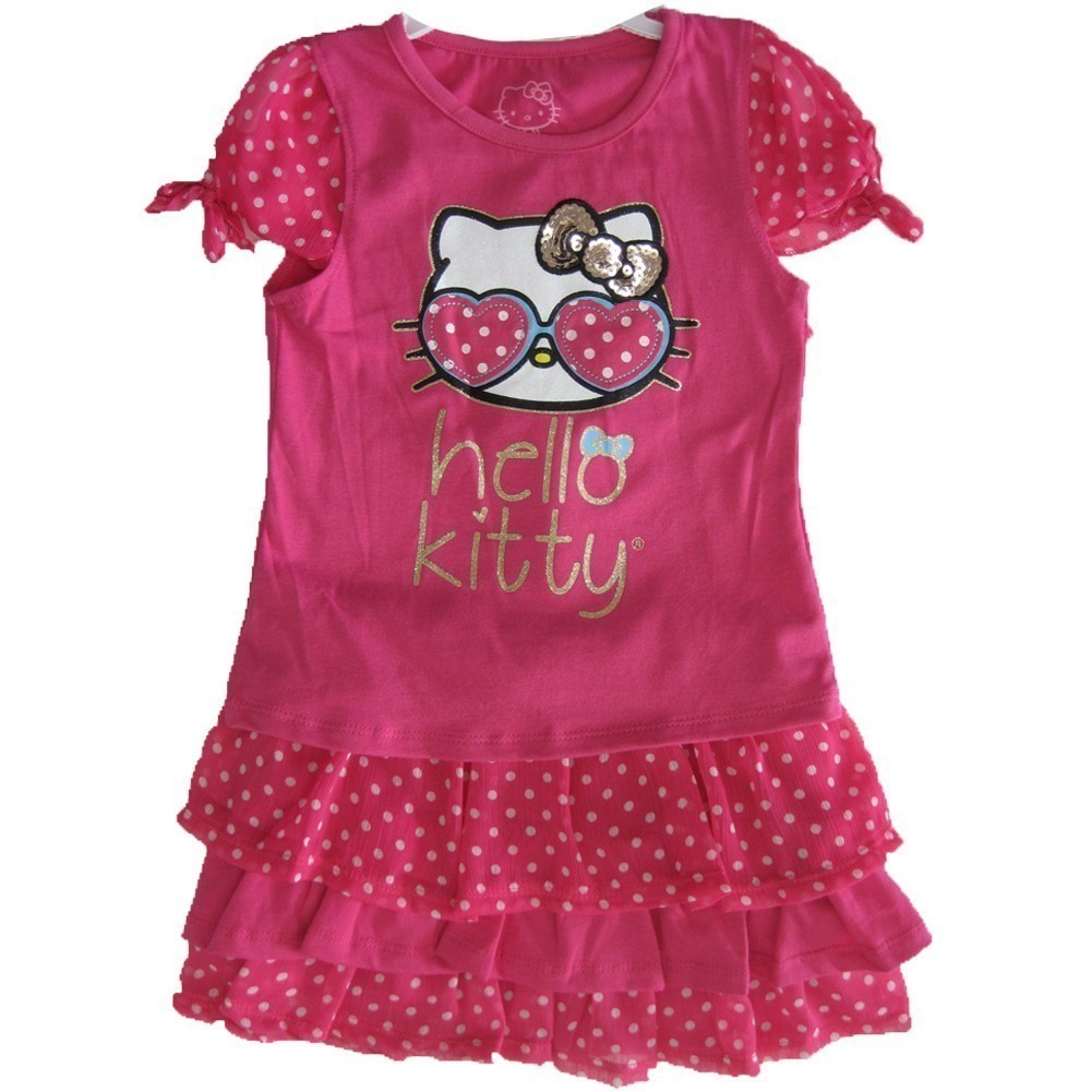 ABC Brand Name Inc. Hello Kitty Little Girls Fuchsia Dotted Glittery Applique 2 Pc Skirt Set 4 - 6X