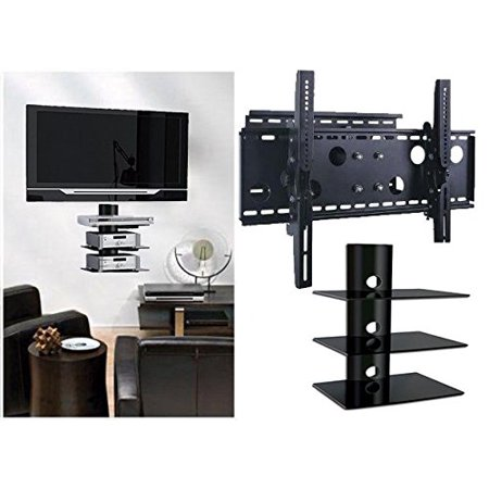 2xhome TV Wall Mount Bracket & Triple Shelf Package Secure Cantilever LED LCD Plasma Smart 3D WiFi Flat Panel Screen Monitor Display Large Displays Long Swing Out Single Arm Extending