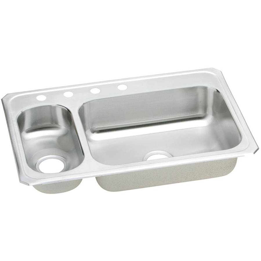 Elkay CMR33224 Gourmet Celebrity Stainless Steel Double Bowl Top Mount Sink with 4 Faucet Holes