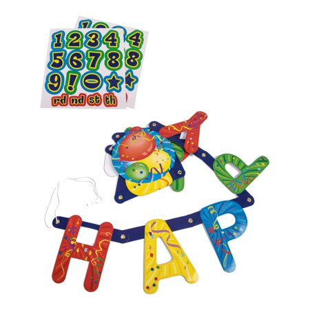 Happy Birthday Custom Stick On Age And Banner Stickers Costume Accessory for $<!---->