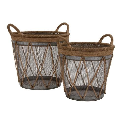 Woodland Imports 2 Piece Metal Burlap Baskets Set by Woodland Imports