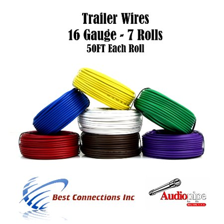 7 Way Trailer Wire Light Cable for Harness 50 FT  Each Roll 16 Gauge 7 Colors