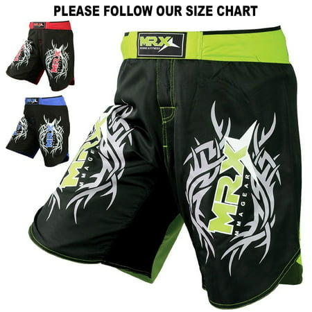 Ufc Shorts (New MRX MMA Fight Shorts Stretch Penals Grappling UFC Cage Fighting Muay Thai Kickboxing Trunks (Black Green,)