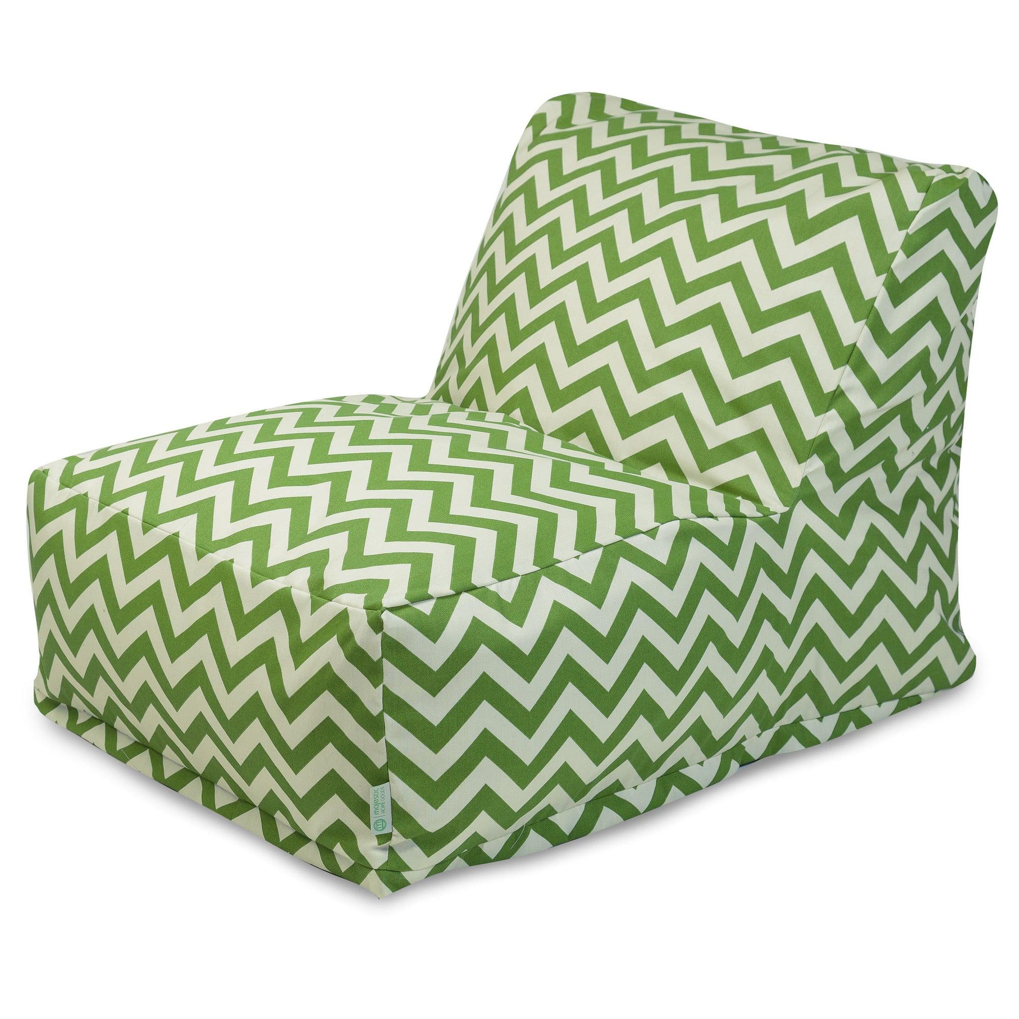 Majestic Home Goods Indoor Outdoor Sage Chevron Chair Lounger Bean Bag 36  In L X 27 In W X 24 In H   Walmart.com