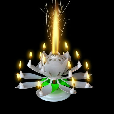 GZYF 2PCS Magic Birthday Blooming Flower Lotus Music Candles Singing Rotatable Double Layers Candle Spin