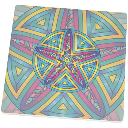 Mandala Trippy Stained Glass Starfish Set of 4 Square SandsTone Art