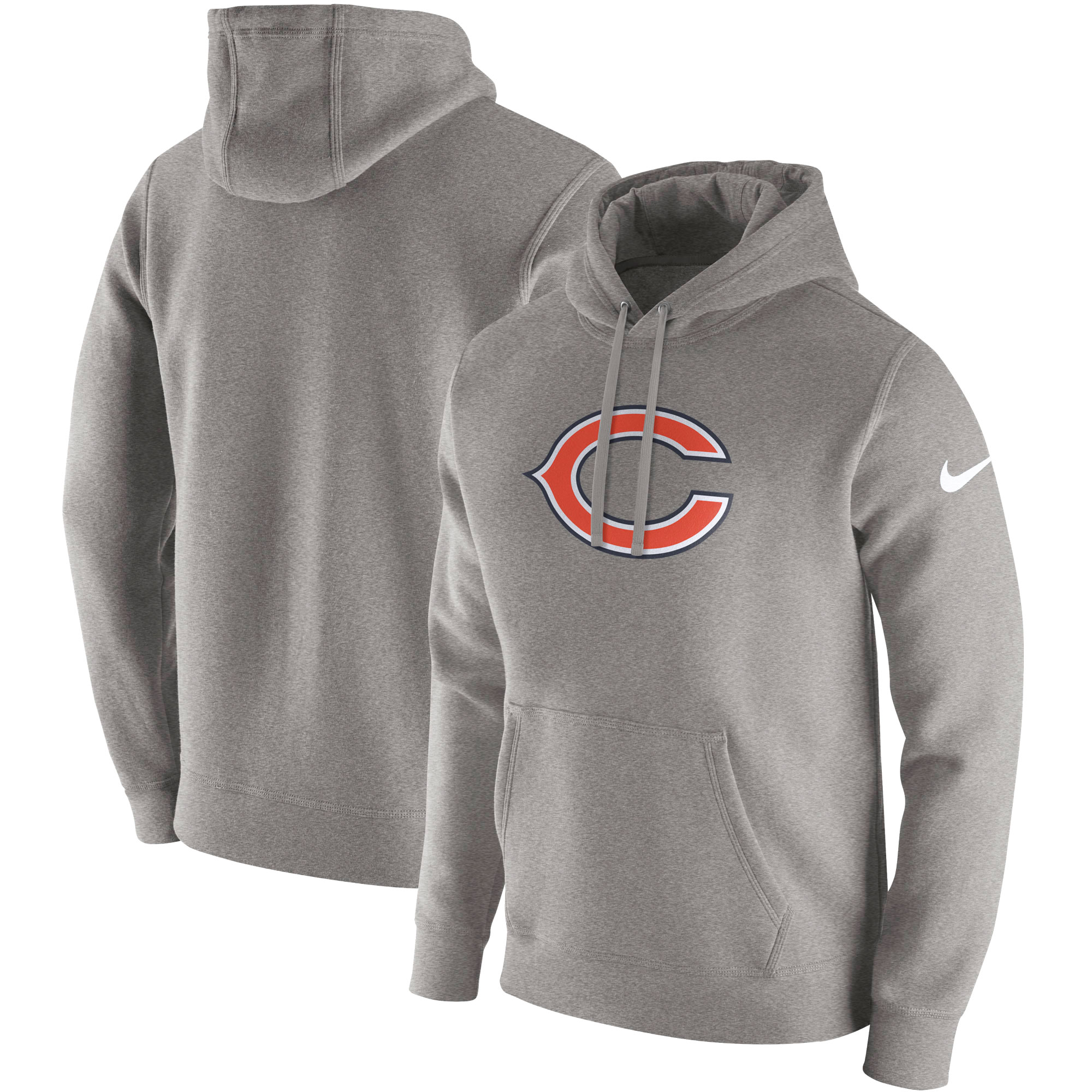 Chicago Bears Nike Club Fleece Pullover Hoodie - Heathered Gray