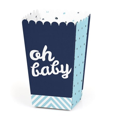 Hello Little One - Blue and Silver - Boy Baby Shower Favor Popcorn Treat Boxes - Set of 12