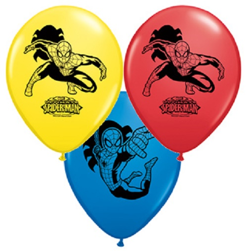 "25ct Marvel Spiderman Print 11"" Latex Balloons Assorted Qualatex Superhero Party"