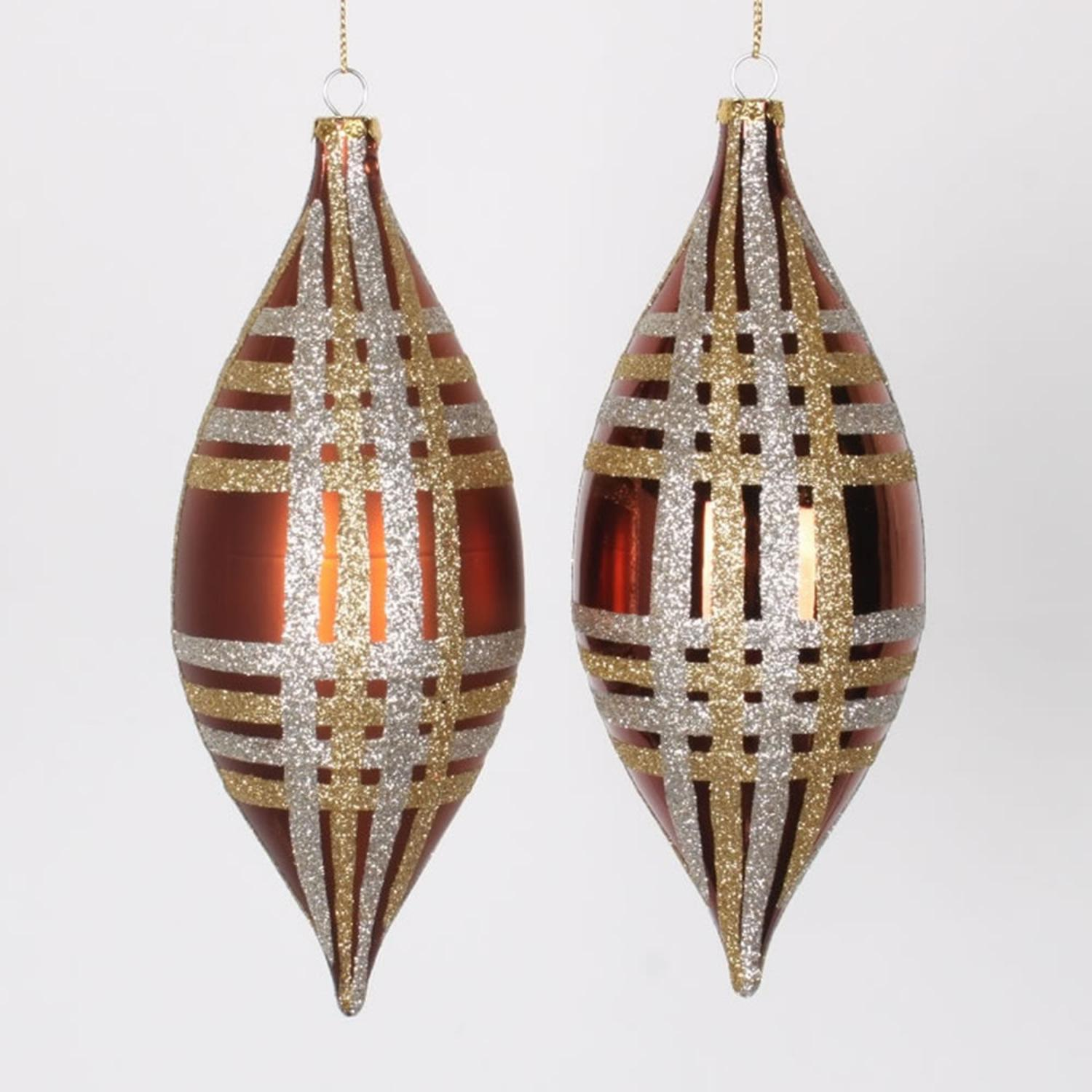 """4ct Copper w/ Champagne Gold & Silver Glitter Plaid Shatterproof Christmas Finial Drop Ornaments 7"""""""
