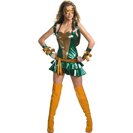 Teenage Mutant Ninja Turtles Michelangelo Sassy Deluxe Adult Halloween Costume](Ninja Costume Makeup)