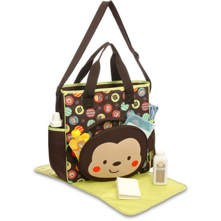 Baby Boom Tote Diaper Bag with Changing Pad, Monkey