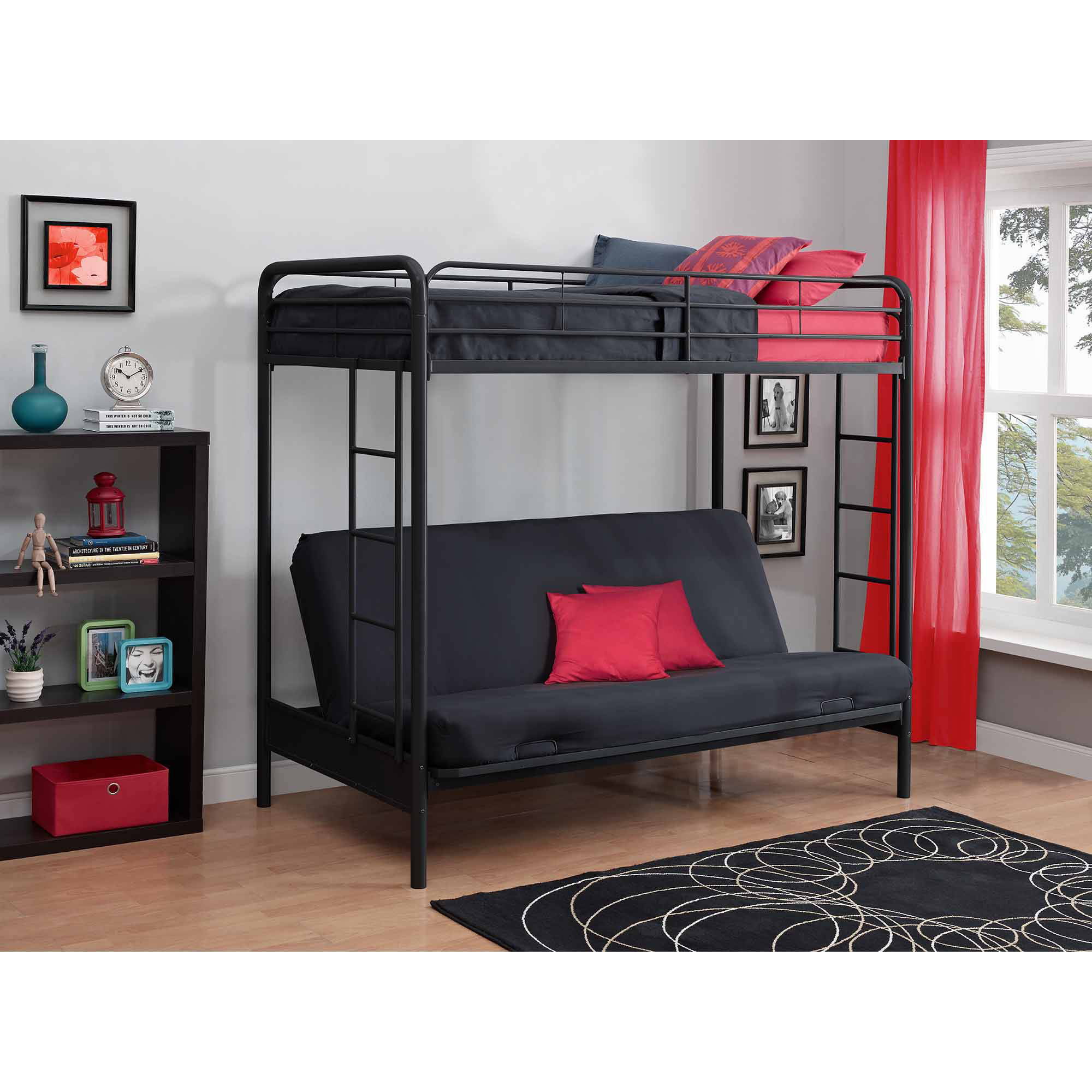 dhp twin over futon metal bunk bed, multiple colors - walmart