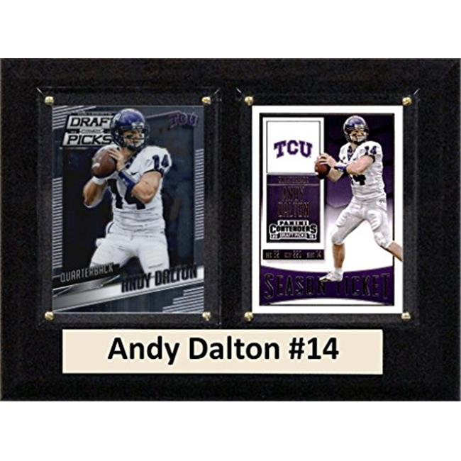 """C & I Collectables NCAA 6"""" x 8"""" Andy Dalton TCU Horned Frogs 2 Card Plaque"""