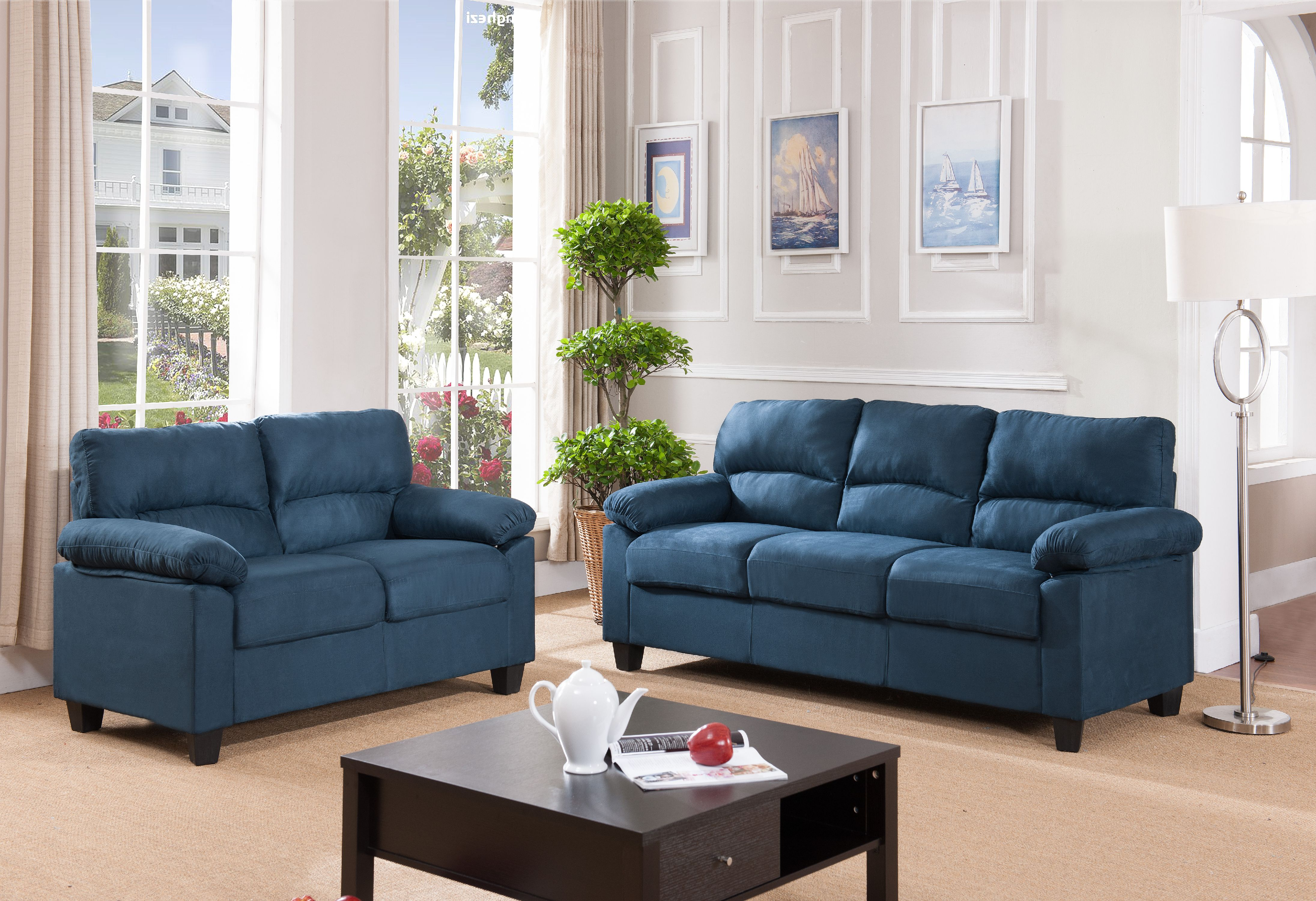 Jena 2 piece blue upholstered microfiber transitional stationary living room set 55 5 loveseat 74 sofa walmart com